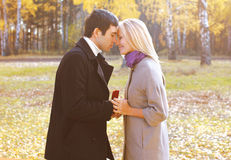 Love, couple, relationship and engagement concept -man proposing. Love, couple, relationship and engagement concept - men proposing to a women in the autumn park Royalty Free Stock Photo