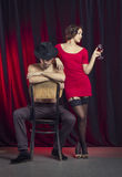 Love couple in retro style. Royalty Free Stock Images