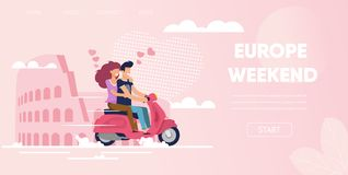Love Couple in Rome Italy Europe Weekend Travel. Europe Weekend Concept. Love Couple in Rome Italy Coliseum Background. Man boyfriendnd Ride Motorcycle Scooter stock illustration