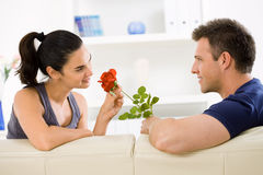 Love couple with rose Stock Photography