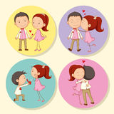 Love couple on round badge Royalty Free Stock Photography