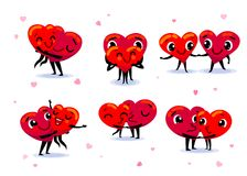 Love couple set. Scenes with two funny cute flat cartoon hearts. Holding hands, kissing, hugging, dancing, smiling. Wedding, happiness concept. Vector Stock Photos