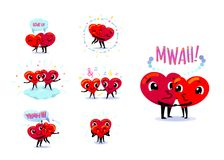 Love couple set. Scenes with two funny cute flat cartoon hearts. Holding hands, kissing, hugging, dancing, smiling. Wedding, happiness concept. Vector Royalty Free Stock Images