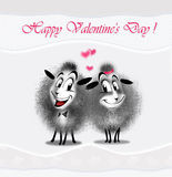 Love couple sheep. Love, couple sheep with love message. Digital illustration. Couple sheep on white wave background and love message: Happy Valentine Day Royalty Free Stock Photography
