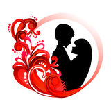 Love couple silhouette in red floral circle royalty free stock photos