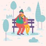 Love couple sitting on bench. Postcard design royalty free illustration