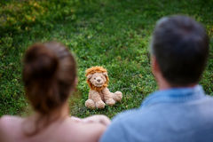 Love couple sitting on the grass and look at the toy lion Royalty Free Stock Photography