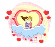 Love couple sitting on heart. In cloudscape Stock Images
