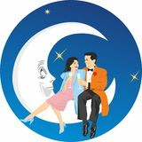 Love couple sitting on the moon. The concept background for Valentine`s Day, Posters, wedding invitations vector illustration