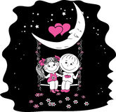 Love couple sitting at night on a swing. Attached to the moon Royalty Free Stock Photography