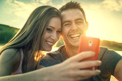 Love Couple smiling, close-up photo selfie Stock Image
