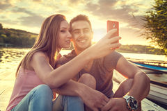 Love Couple smiling, close-up photo selfie Stock Photo