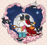 In Love Couple Staring at the Starry Night in Qixi Festival, Vector Illustration Royalty Free Stock Photos