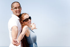 Love couple Stretching Their Hands Together Royalty Free Stock Image
