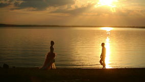 Love couple at sunset stock video