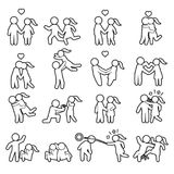 Love and couple thin line icon set. Love outline icon set. Vector. Eps10 Stock Images