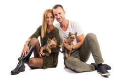 Love Couple with two yorkshire terrier - autumn fashion Royalty Free Stock Photography