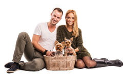 Love Couple with two yorkshire terrier in basket  - autumn fashion Stock Photography