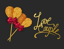 LOVE COUPLE - Valentines Day Greeting card. Happy Valentines Day Background. Gold paper heart and red bow tie. Vector Royalty Free Stock Image