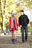 Love couple walking in park Stock Image