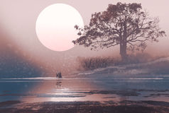 Love couple in winter landscape with huge moon above. Illustration painting stock illustration