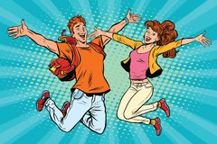 Love couple young man and woman jumping vector illustration