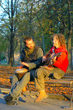Love couple of young musicians Royalty Free Stock Photos