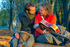 Love couple of young musicians Royalty Free Stock Image