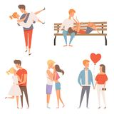 Love couples. Flirting and kissing romantic lovers male and female characters at st valentine day 14 february vector. Cartoon mascots. Girlfriend character vector illustration