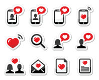Love, couples, Valentine's Day icons set. Vector labels set isolated on white - love letter, couples in love, love text messages Royalty Free Stock Photography