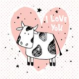 Love cow. Vector illustration, hand drawn cow illustration, pink heart, hand lettering i love you text stock illustration