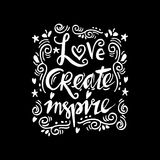 Love create inspire hand lettering. Stock Photo