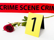 Love crime. Red rose laying near evidence no 1 card , and crime scene security track, isolated on white background Stock Photography