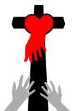 Love Cross. Helping hand and cross .vector illustration vector illustration