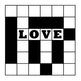Love crossword puzzle. Blank crossword puzzle with word love, isolated on white background Royalty Free Stock Image
