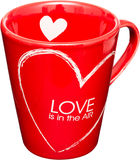 Love Cup. Red Cup With Heart Symbols Isolated On White Royalty Free Stock Photo