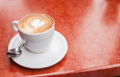 Love cup , heart drawing on latte art coffee. Royalty Free Stock Photography
