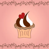 Love cupcake. Vector illustration of cupcake with heart on pink background Royalty Free Stock Images