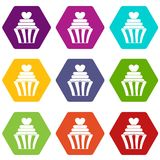 Love cupcake icon set color hexahedron Royalty Free Stock Photo