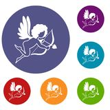 Love Cupid icons set Stock Photography