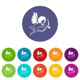 Love Cupid icons set flat vector Royalty Free Stock Photo