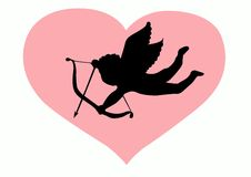 Love Cupid Silhouette. With pink heart royalty free illustration