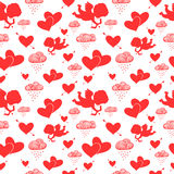 Love cupids hearts arrows and clouds seamless Stock Photo