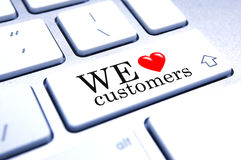 We love customers. A fun concept graphic for customer care Royalty Free Stock Photo