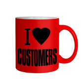 Love customers - business sales mug, message iolated over white Royalty Free Stock Photos