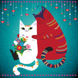 In Love. Cute adorable white girl cat holding bouquet of flowers. Big red boy cat hugging her. Love You concept Stock Images