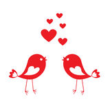 Love cute birds with red hearts Royalty Free Stock Photo