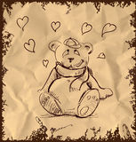 In love cute teddy bear on vintage background Royalty Free Stock Photos