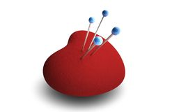 Love. 3D rendering with a hart shaped pincushion pierced with needles Royalty Free Stock Image