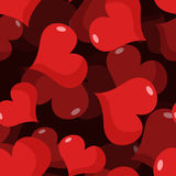 Love 3D seamless pattern. Red heart background. Stock Image